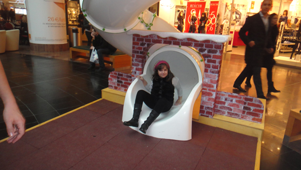 Spiral tube slide in a mall